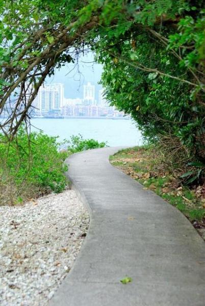 就這樣沿著海邊的綠蔭小徑走,沿途鳥語花香,可縱情呼吸大自然。