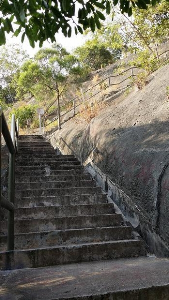 由地面走樓梯上山,大約十分鐘就可抵達。
