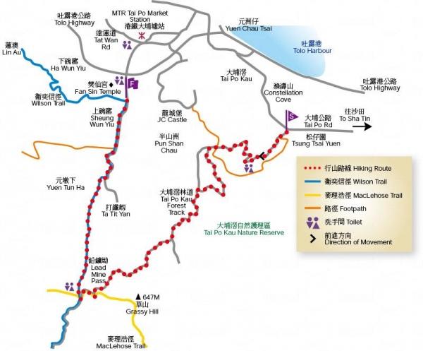 大埔滘自然教育徑地圖。來源:康文署
